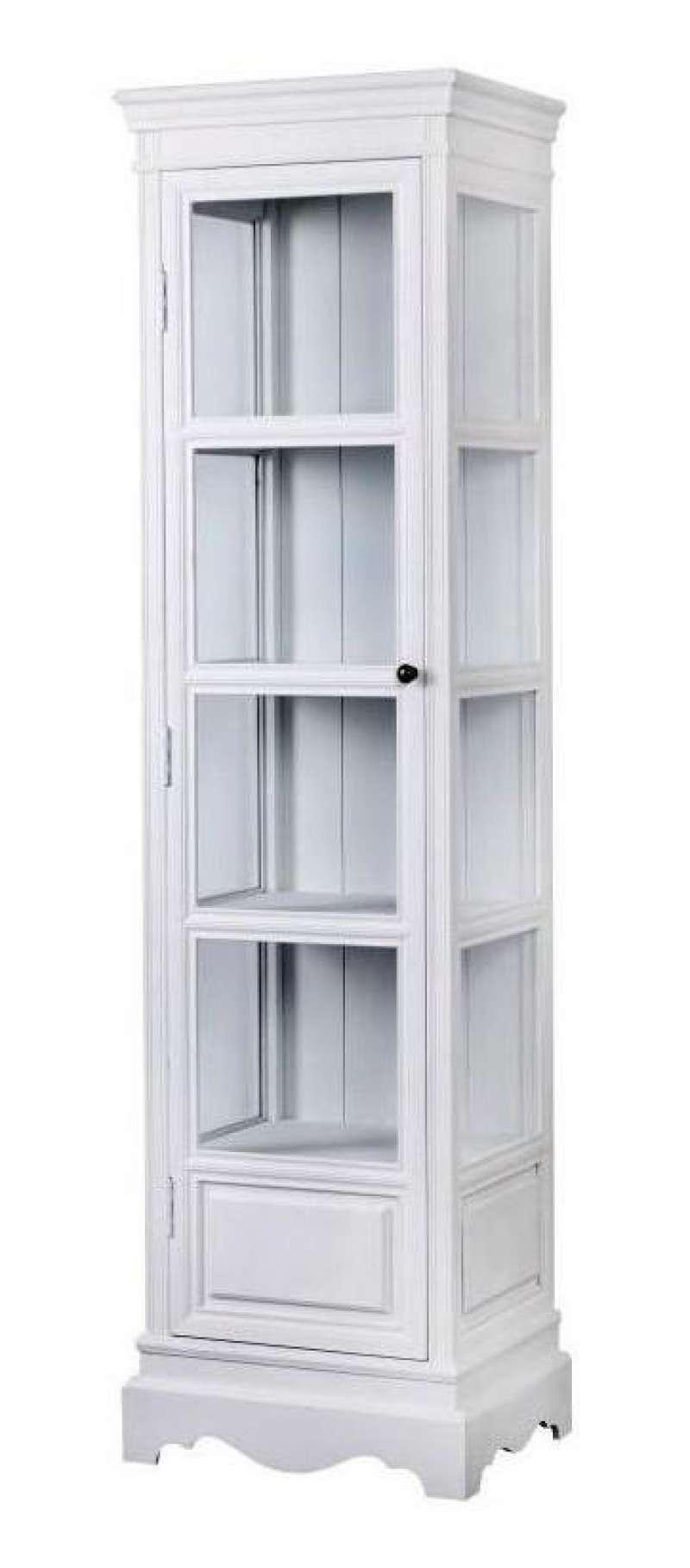 Vitrină cu ușă Alexander , 180x49x39 cm, lemn de plop/ mdf/ metal, alb poza