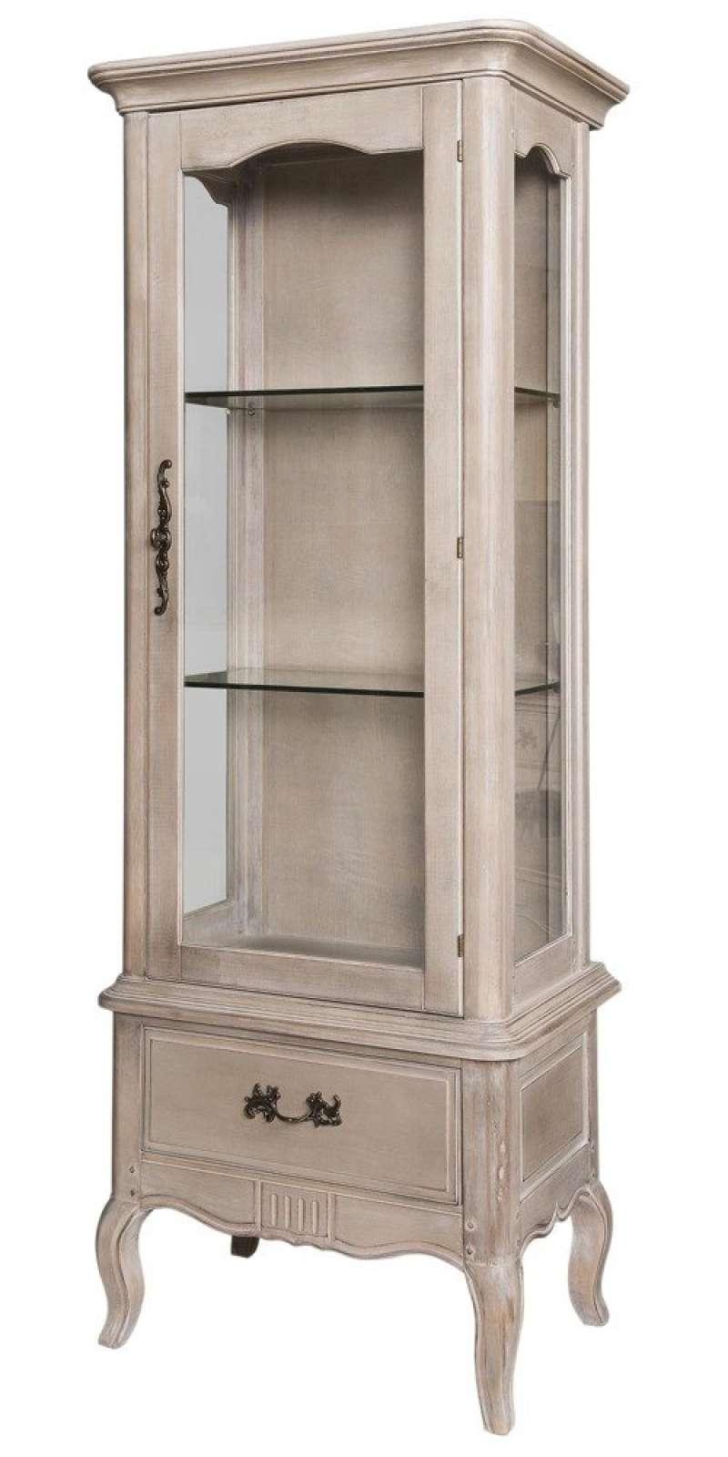 Vitrină cu ușă și sertar Dominica, 180x71x46 cm, lemn de mesteacan/ metal, bej poza