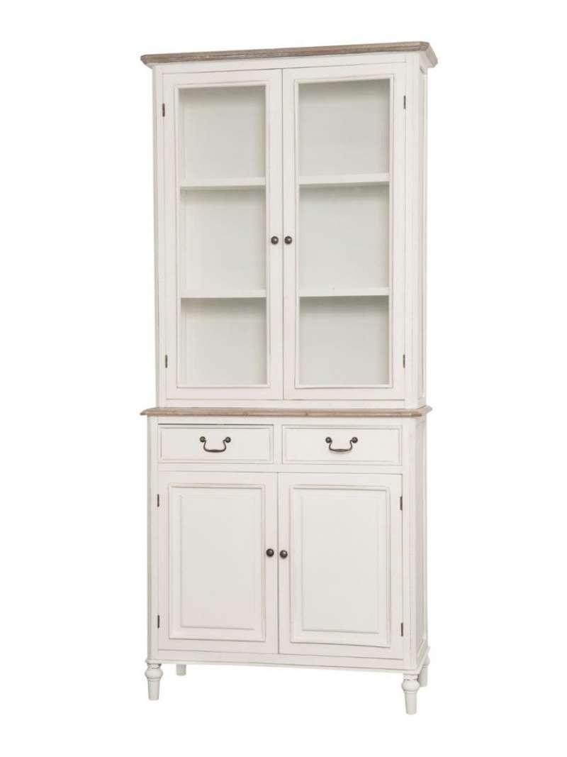 Vitrină înaltă cu două uși Collin, 200x90x40 cm, lemn de plop/ mdf/ metal/ sticla, alb/ maro poza