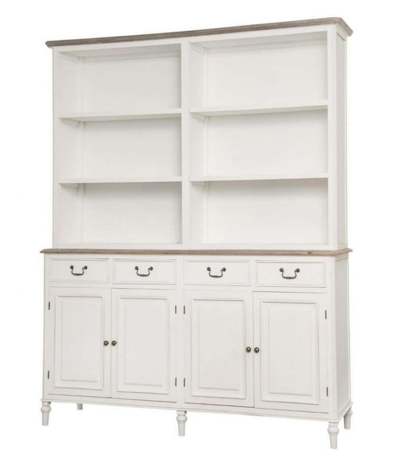 Vitrină stil clasic Collin, 200x162x45 cm, lemn de plop/ mdf/ metal, alb/ maro poza
