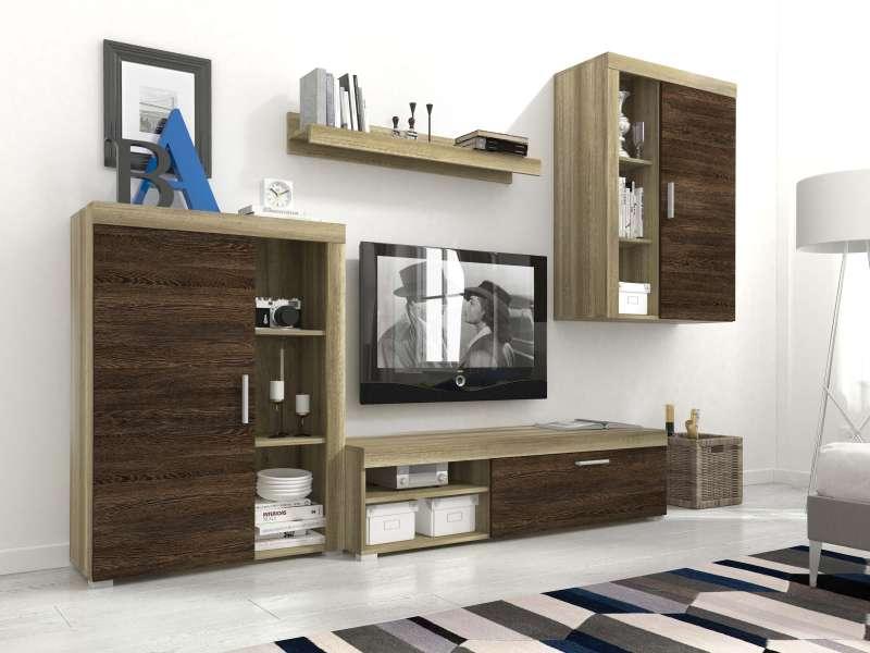 Set mobilă living Eliseo, 197x270x34/42 cm, pal/ mdf/ plastic, gri/ maro poza