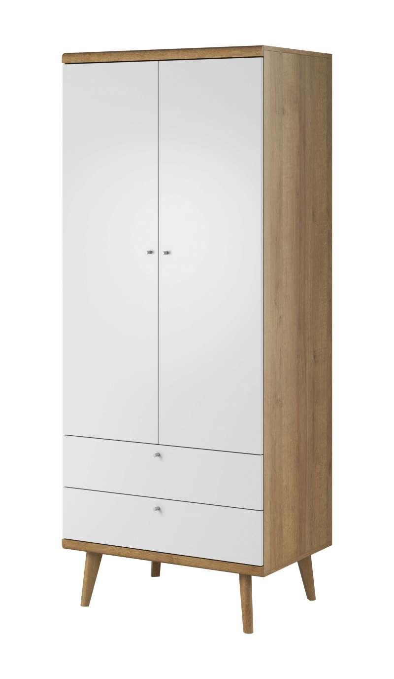 Șifonier cu uși și sertare Andera, 197x80x56 cm, pal/ mdf/ lemn de stejar/ aluminiu, maro/ alb poza