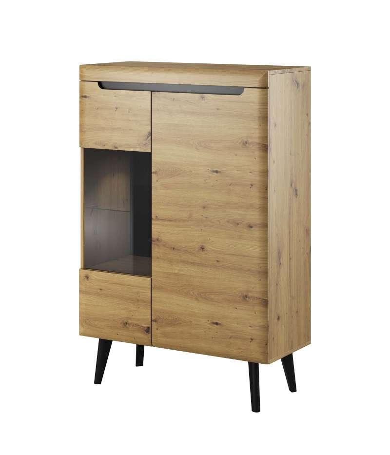 Vitrină Alix, 134x90x40 cm, pal/ mdf/ sticla/ lemn, maro/ negru poza