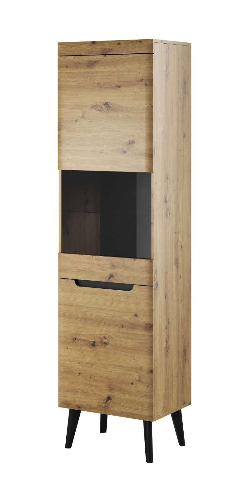 Vitrină înaltă Alix, 197x53x40 cm, pal/ mdf/ sticla/ lemn, maro/ negru poza