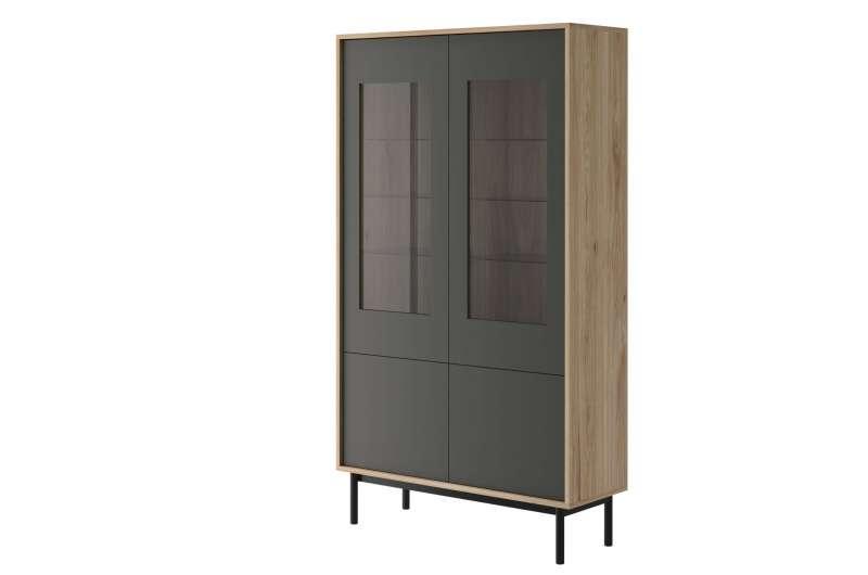 Vitrină înaltă cu două uși Caron, 185x104x39 cm, pal/ lemn/ sticla, maro/ gri poza