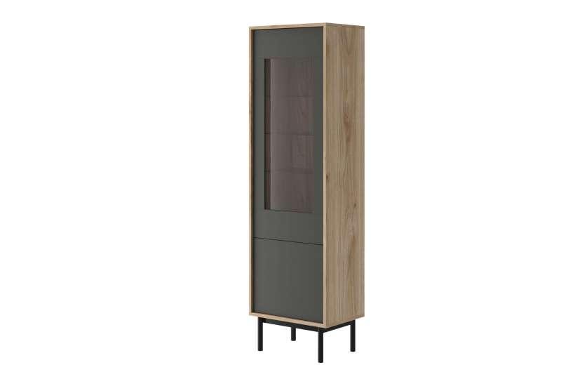 Vitrină înaltă cu ușă Caron, 185x54x39 cm, pal/ lemn/ sticla, maro/ gri poza