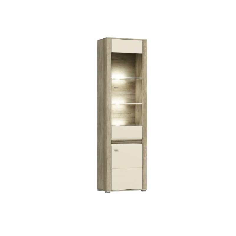 Vitrină înaltă cu ușă Freda, 205x60x37 cm, pal/ mdf/ plastic/ aluminiu/ sticla, gri poza
