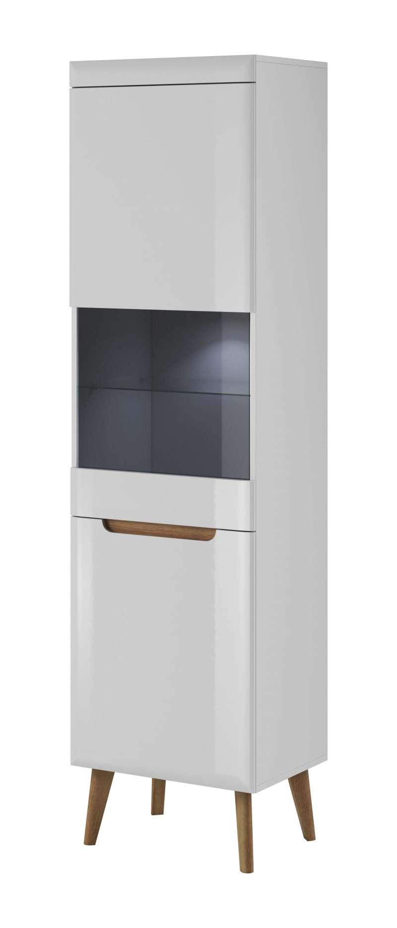 Vitrină înaltă cu uși Alix, 197x53x40 cm, pal/ mdf/ lemn de stejar/sticla, maro/ alb poza