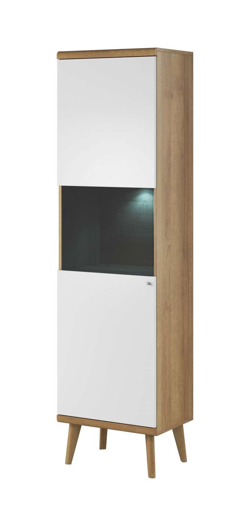 Vitrină înaltă cu uși Andera, 197x50x40 cm, pal/ mdf/ sticla/ lemn de stejar/ aluminiu, maro/ alb poza