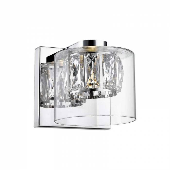 Aplică Adolph, metal/ sticla, transparent/ argintiu/ crom