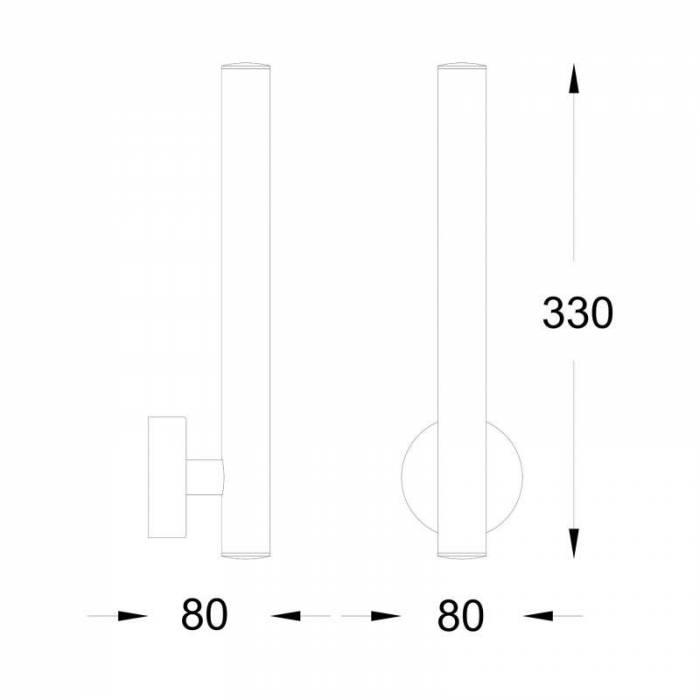 Aplică de perete cu led Michele, 8x33x8 cm, metal, alb