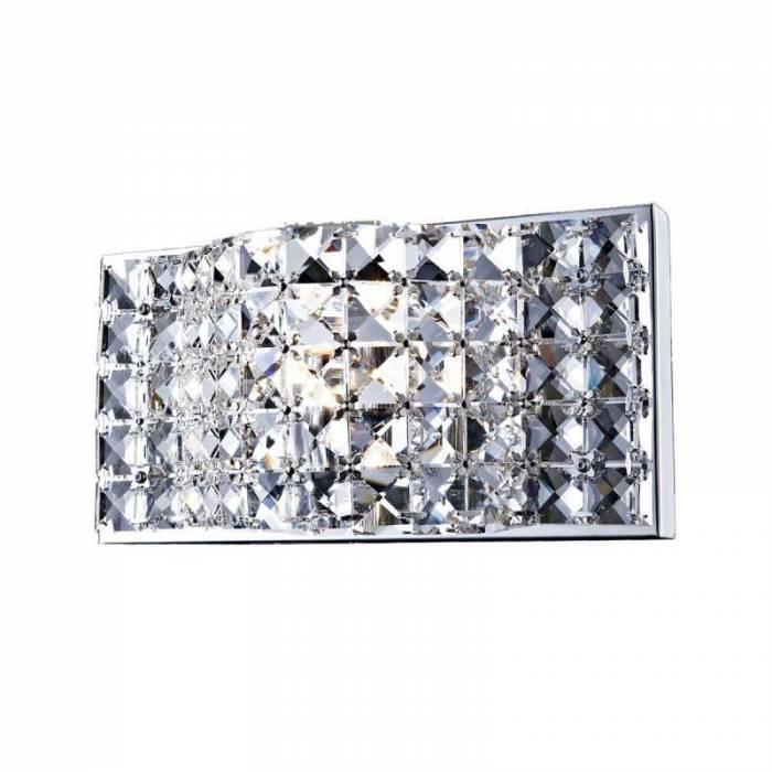Aplică de perete Loreen, 13x8,5x25,5 cm, cristal/ metal, transparent/ crom