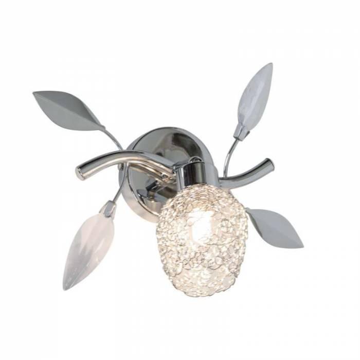 Aplică Giselle, 10x10x10 cm, metal/ plastic, argintiu/ transparent/ crom