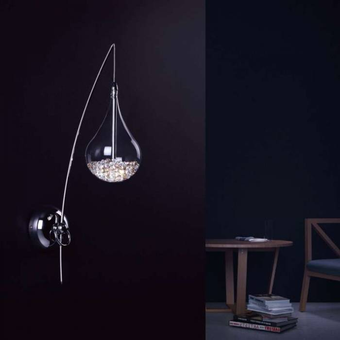 Aplică Regine, 50x24x12 cm, sticla/ cristal/ metal, transparent/ crom