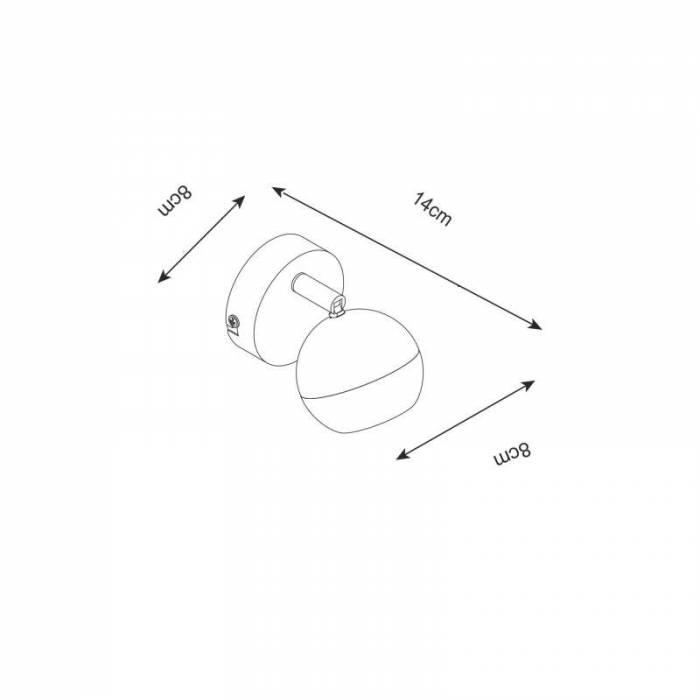 Aplică Rozella, 14x8x8 cm, metal, crom/ alb