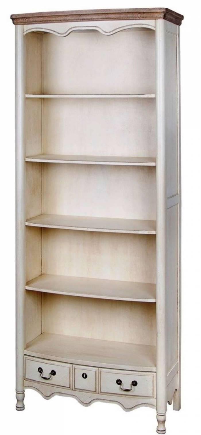 Bibliotecă cu sertar și patru rafturi Ebonie, 192x80x39 cm, lemn de arbore de cauciuc/ furnir/ metal, ivoire