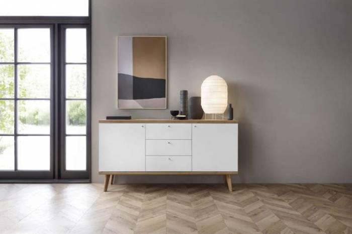 Bufet cu două uși și trei sertare Andera, 83x160x40 cm, pal/ mdf/ lemn de stejar/ aluminiu, maro/ alb