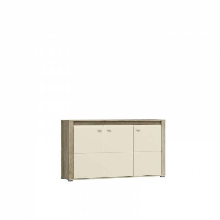 Bufet cu trei uși Freda, 88x154x40 cm, pal/ mdf/ plastic/ aluminiu, gri