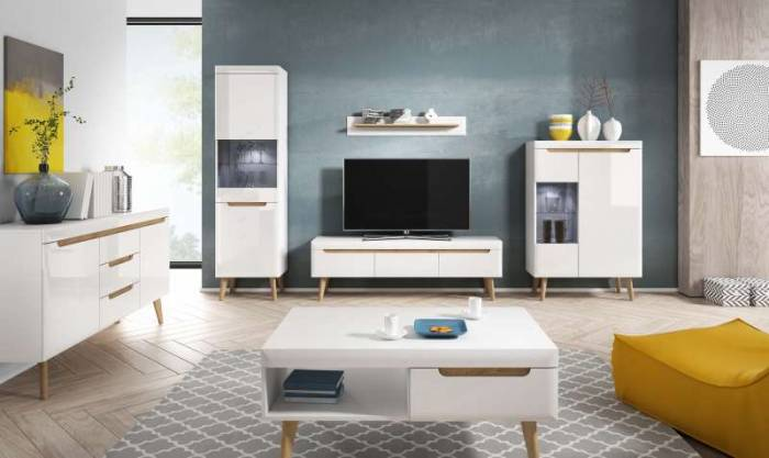Bufet cu ușă și sertare Alix, 83x107x40 cm, pal/ mdf/ lemn de stejar, maro/ alb