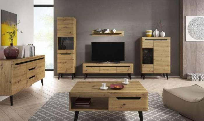 Bufet cu ușă și sertare Alix, 83x107x40 cm, pal/ mdf/ lemn, maro/ negru