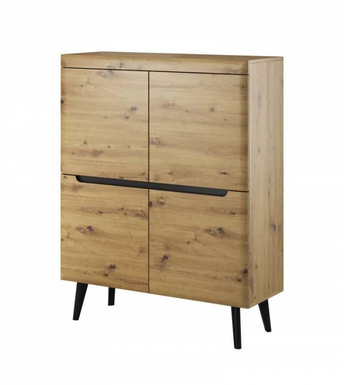 Bufet cu uși Alix, 134x107x40 cm, pal/ mdf/ lemn, maro/ negru