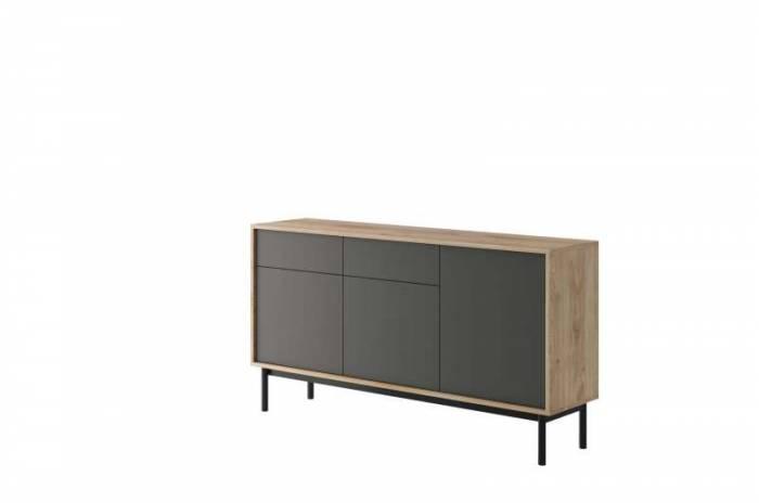 Bufet cu uși și sertare Caron, 84x154x39 cm, pal/ lemn, maro/ gri