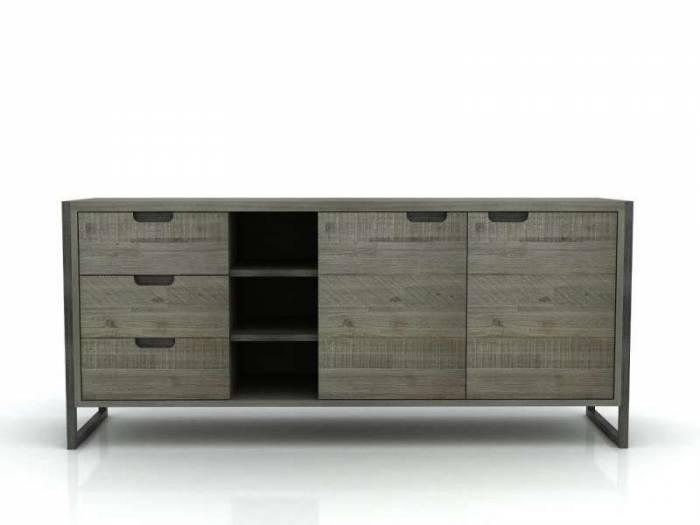 Bufet Daniel, 78x170x45 cm, lemn de acacia/ mdf, gri
