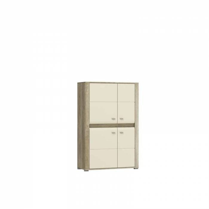 Bufet înalt cu patru uși Freda, 137x90x37 cm, pal/ mdf/ plastic/ aluminiu, gri
