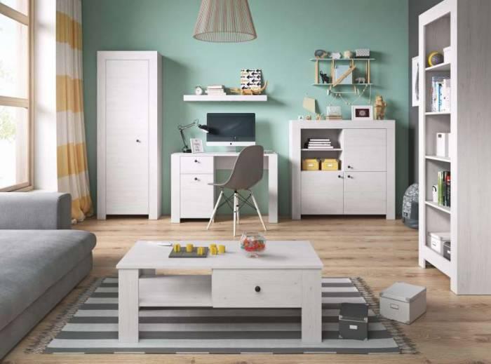 Bufet înalt cu uși și sertare Hannah, 96x155x40 cm, pal/ plastic/ metal, alb/ gri