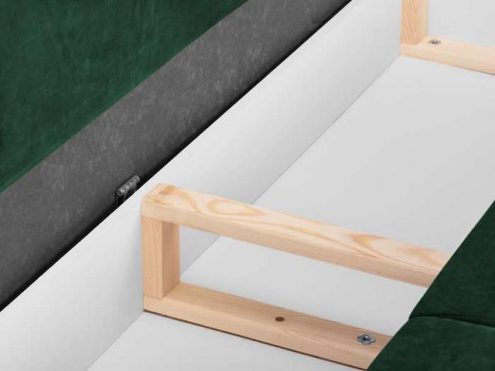 Canapea extensibilă cu spațiu de depozitare Lea, 3 locuri, verde - Resigilat