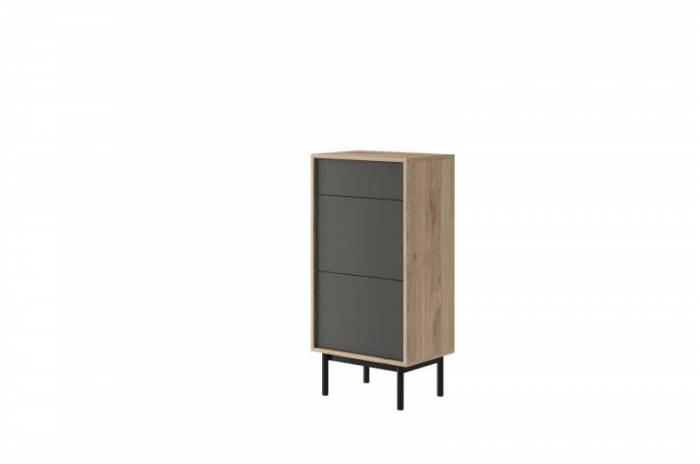 Comodă Caron, 112x54x39 cm, pal/ lemn, maro/ gri