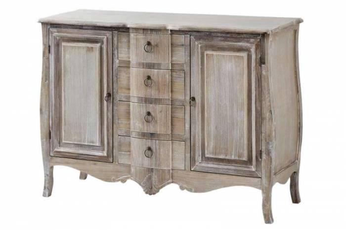 Comodă cu două uși și patru sertare Gilbert, 85x120x40 cm, lemn de plop/ mdf/ furnir/ metal, maro deschis