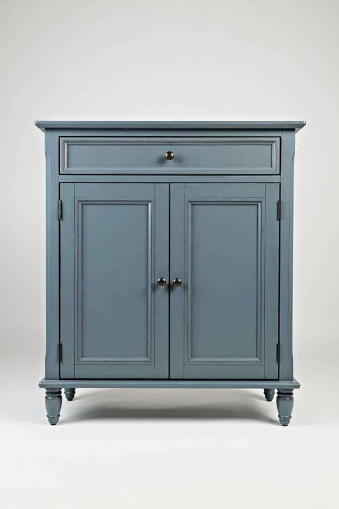 Comodă cu două uși și sertar Karan, 87x76x36 cm, lemn de acacia/ furnir, albastru