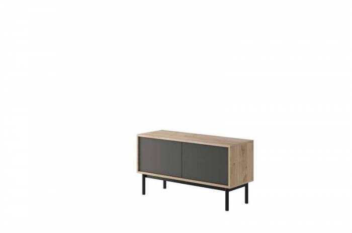 Comodă TV cu două uși Caron, 57x104x39 cm, pal/ lemn, maro/ gri