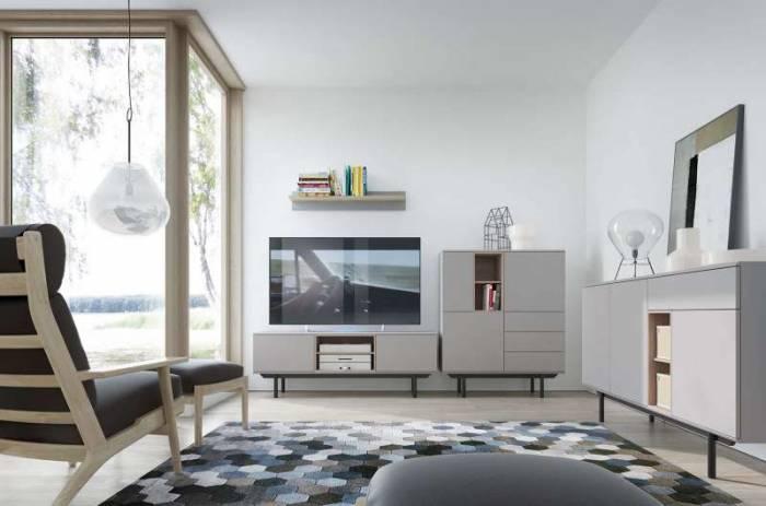 Comodă TV cu rafturi și două uși Augusta, 54x150x40 cm, pal/ lemn, gri/ negru