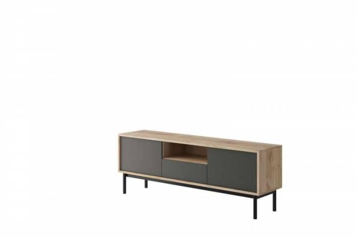 Comodă TV cu sertar și uși Caron, 57x154x39 cm, pal/ lemn, maro/ gri