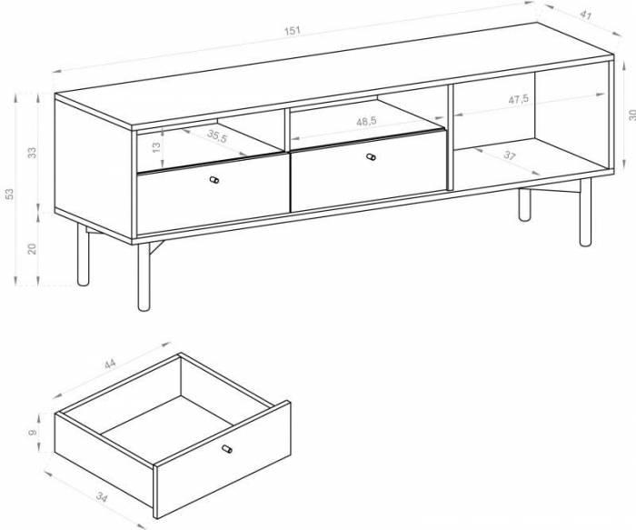 Comodă TV cu ușă și două sertare Brooke, 53x151x41 cm, pal/ lemn/ metal, maro/ negru