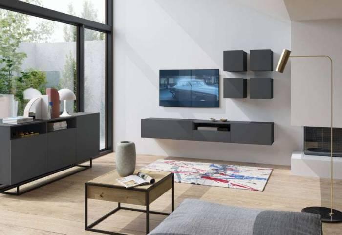 Comodă TV cu uși Curtis, 47x120x37 cm, pal/ metal, alb