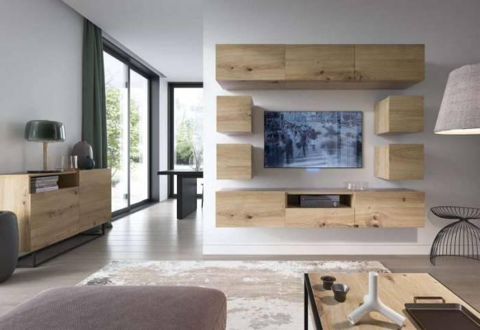 Comodă TV cu uși Curtis, 47x120x37 cm, pal/ metal, gri
