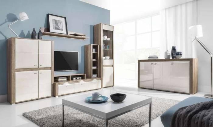 Comodă TV rafturi Freda, 15x100/100x30 cm, pal/ plastic/ aluminiu, gri