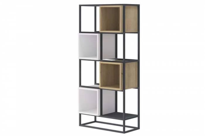 Etajeră înaltă Curtis, 144x66x35 cm, pal/ metal, gri