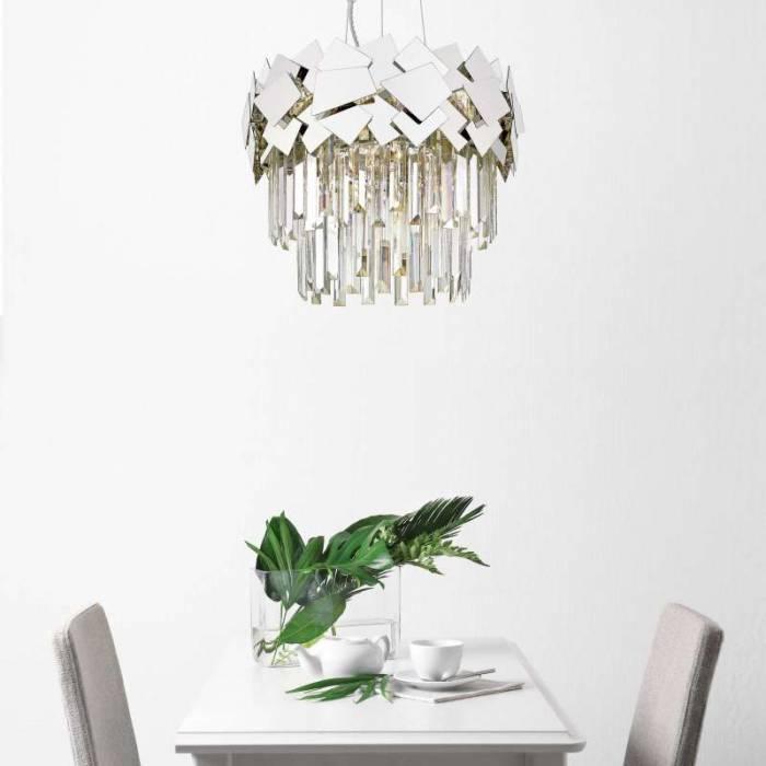 Lustră cu cristale Carolyne, otel inoxidabil/ cristal, transparent/ argintiu