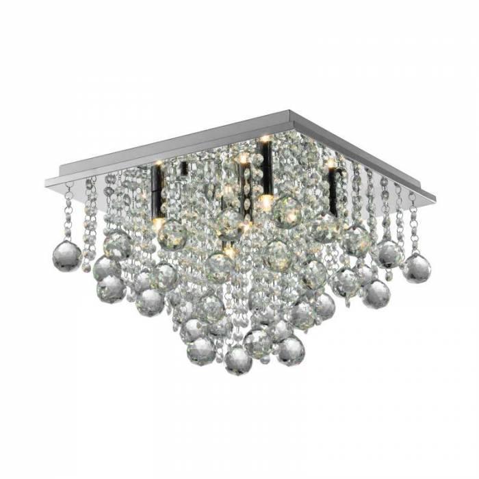 Lustră cu cristale Pansy, 27x40x40 cm, metal/ sticla, argintiu/ transparent
