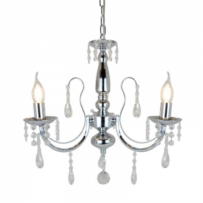 Lustră cu două becuri Rosalia, 52x49x49 cm, metal/ sticla, argintiu