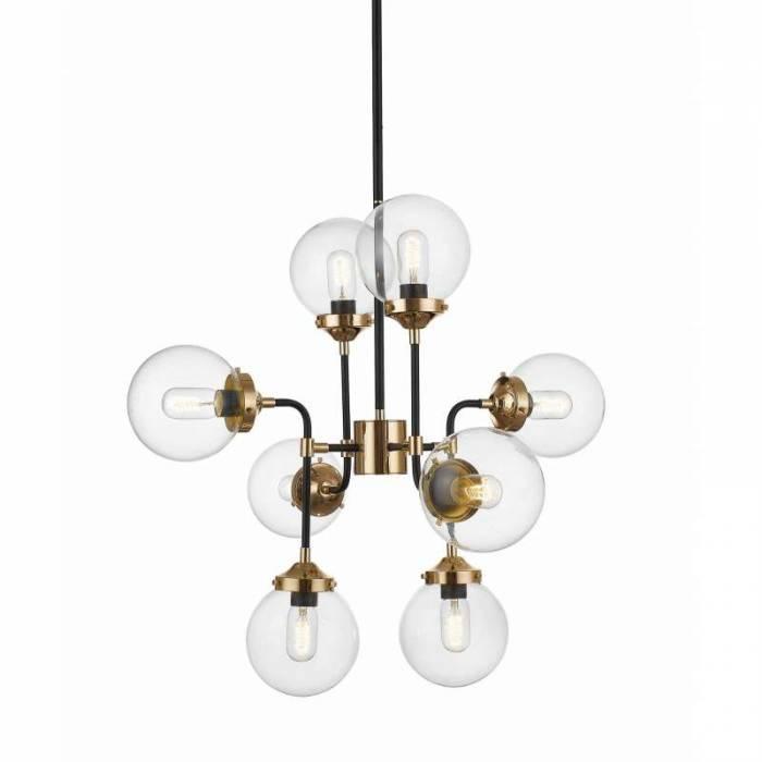 Lustră cu opt brațe Nidia, 76x76x76 cm, sticla/ metal, negru/ auriu