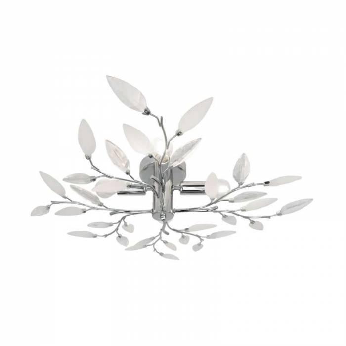 Lustră motive florale Margot, metal/ plastic, transparent/ argintiu/ crom