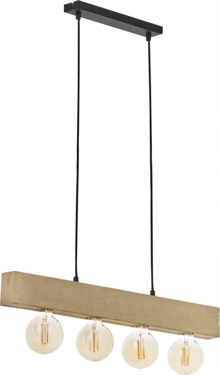Lustră pendul cu patru becuri Sena, 80x68x4,5 cm, cherestea/ metal/ lemn, negru pin