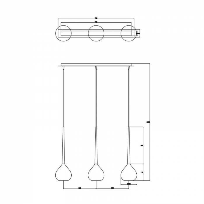 Lustră pendul cu trei brațe Mariette, 120x16,3x84,3 cm, sticla/ metal, alb/ crom