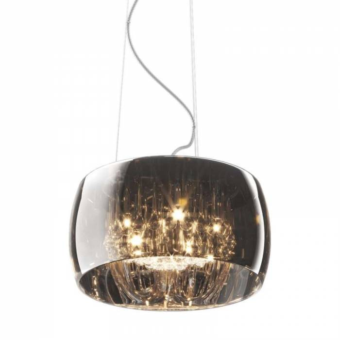 Lustră pendul Marisa, 145x40x40 cm, sticla/ metal/ cristal, transparent/ crom