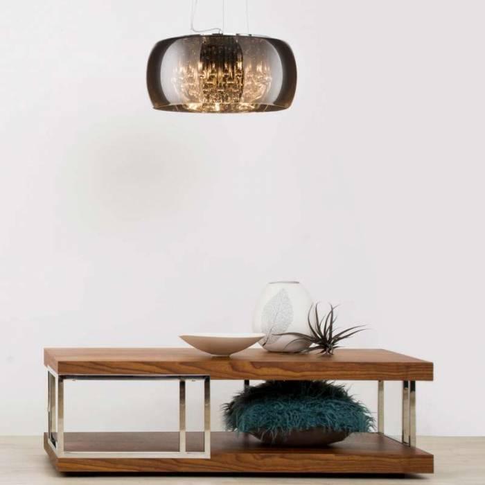 Lustră pendul Marketta, 145x50x50 cm, sticla/ metal/ cristal, transparent/ crom